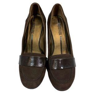 Kenneth Cole 90's Brown Loafer Wood Heel Pumps 8.5